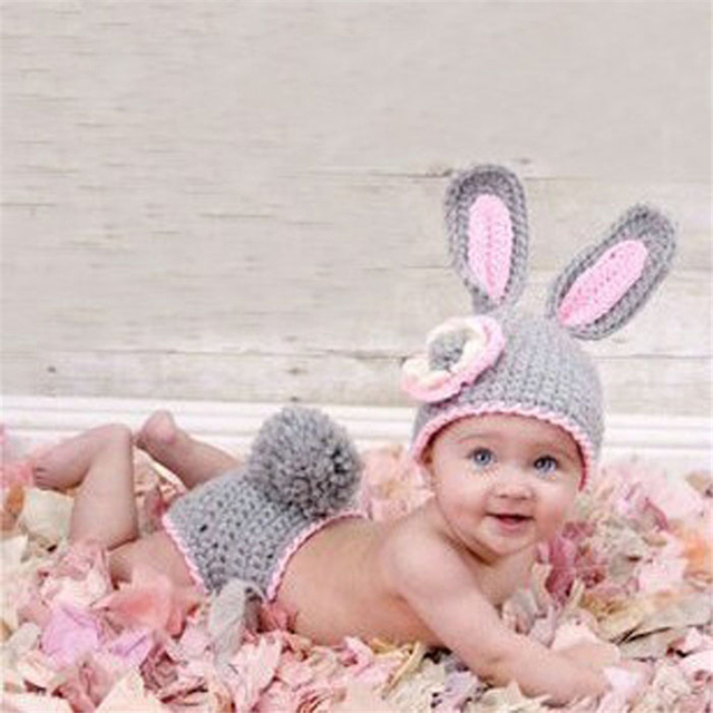 05c314d1af0f Newborn Baby Girls Boy Hats Knit Crochet Minnie Clothes Photo Prop Outfits  for 0-9 Month baby soft Bunny Dress Up Sets #30