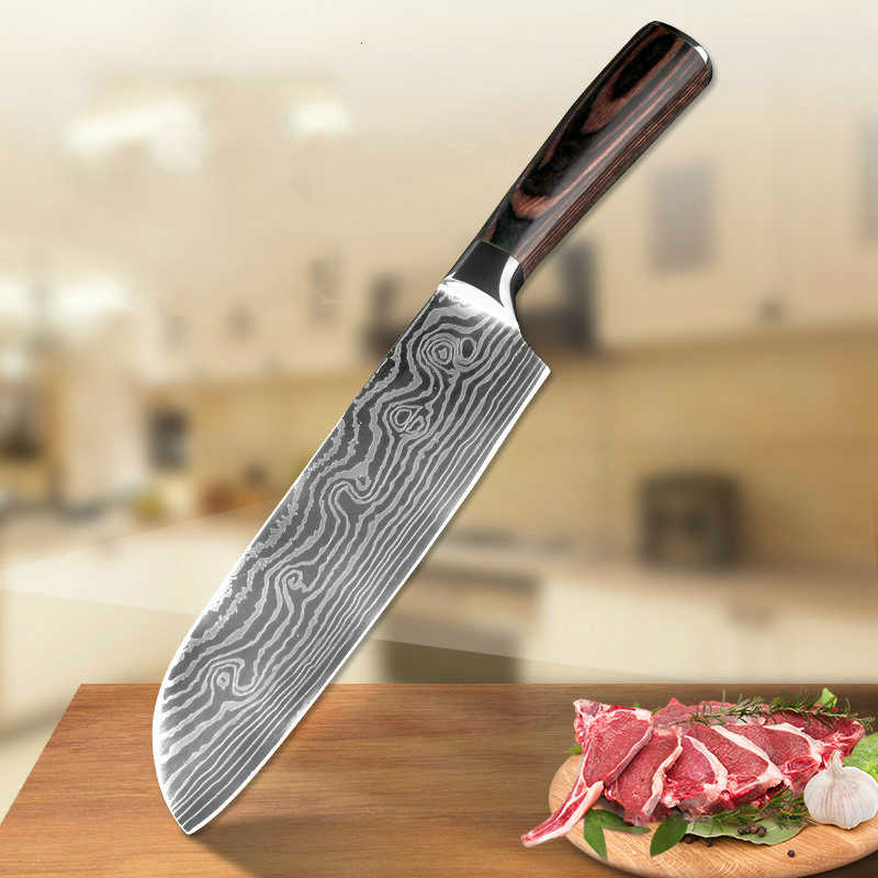 Kitchen Knife 5' 7 inch Professional Chef Knives Japanese 7CR17 440C High Carbon Stainless Steel Meat Santoku Knife Pakka Wood