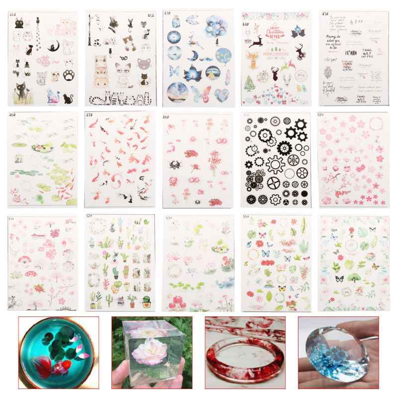 Epoxy Resin Filler DIY Jewelry Making Crafts Handmade Materials Stuffing Colorful Floral Animal Plants Gear Letters Decoration