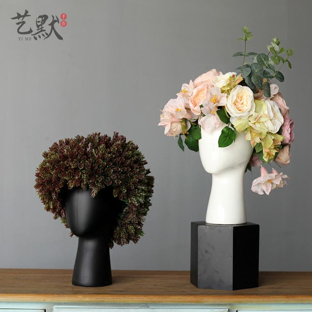 Creative human head white black decorative bastract ceramic vase without flower home model room decoration ornaments