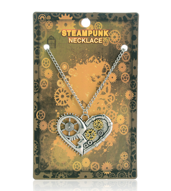 Fashion steampunk heart key bee pendants necklaces with jewelry card vintage steam punk friendship gifts pendentif coeur bijoux