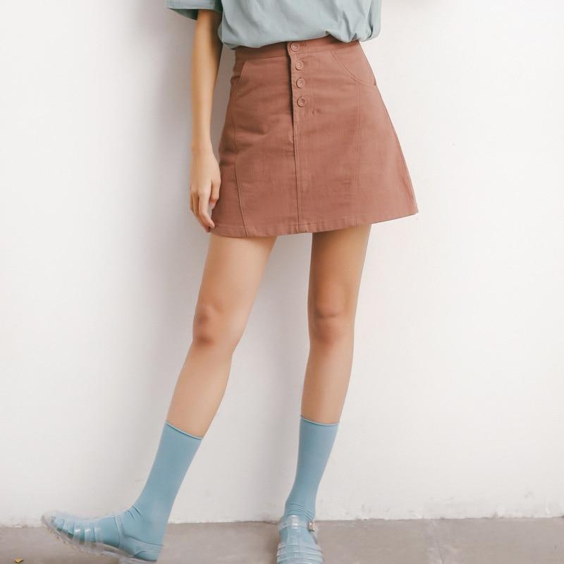 Вельветовые юбки на пуговицах