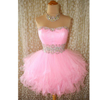 Strapless Beaded Crystal Pink Homecoming Dresses Short Prom Dress Tulle Ball Gowns Graduation 8th Grade Prom Dresses 2019 Sexy