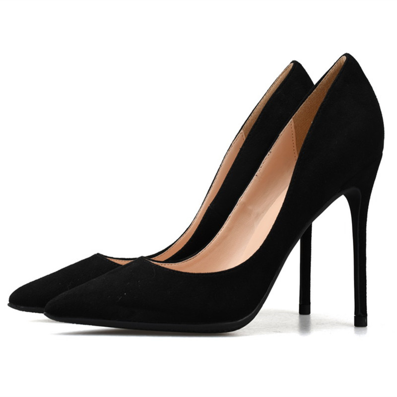 2018 Women Cow Suede Pump 6/8/10CM Stiletto High Heels Wedding Dress Shoes Pointed Toe Slip-on Office Lady Pumps Plus Size 35-46 plus size ol office lady shoes faux suede high heels woman shoes pointed toe dress shoes basic pumps women boat zapatos mujer777