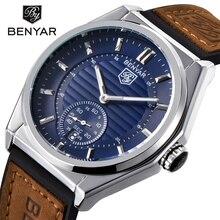 BENYAR Luxury Brand Analog Display Date Men's Quartz Watch 30M Waterproof Genuine Leather Strap Casual Watch Relogio Masculino