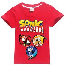 лучшая цена 2019 Sonic Hedgehog Children T-shirts Top O-neck 100% Cotton Boys Girls Kids tshirt Cartoon Teen Summer Clothing Baby T-shirt