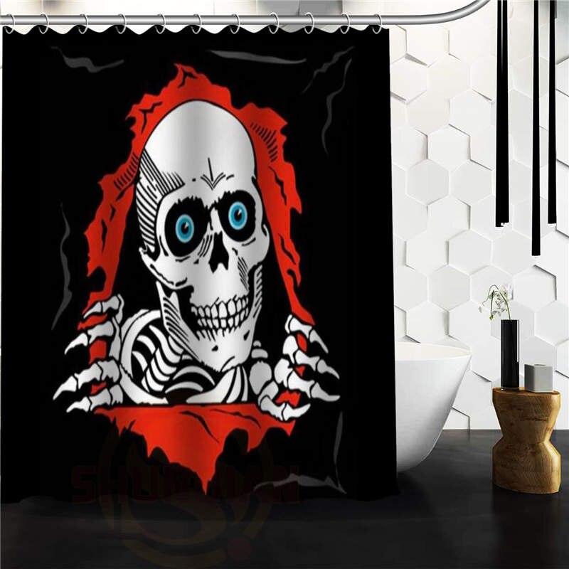 Fashion Custom Skull Art Waterproof Polyester Fabric Shower Curtain 48 X 72  Inch
