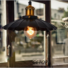 T Retro Iron Black Pendant Light American Style Country Style Loft For Living Room Hall Hotel Restanrant Coffeee Shop E27 bulb