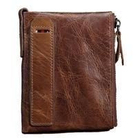 Genuine Oil Wax Cowhide Leather Men S Fashion Style Short Wallet Coin Purse Vintage Clutch Pouch