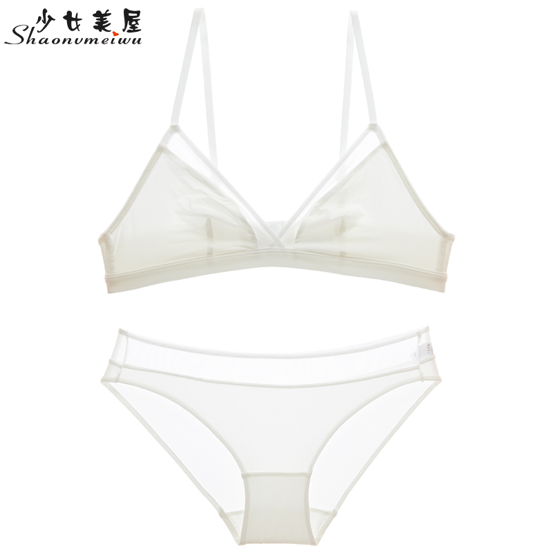 shaonvmeiwu Super thin French sexy underwear simple triangle cup white   bra     set   without underwire small breast   bra
