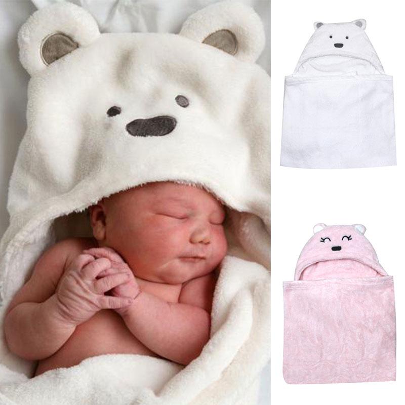 Bear shaped Baby Hooded Bathrobe Soft Infant Newborn Bath Towel Blanket