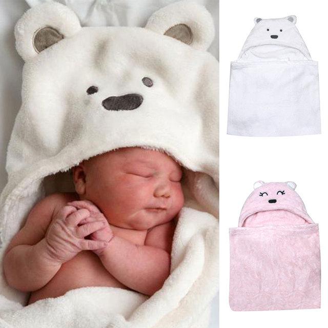 En forma de oso del bebé con capucha albornoz suave recién nacido manta toalla de baño