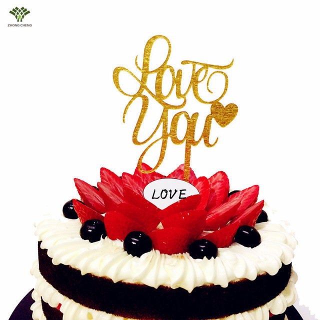 2017 Real New Birthday Decorations Kids Custom Love You Cake Topper