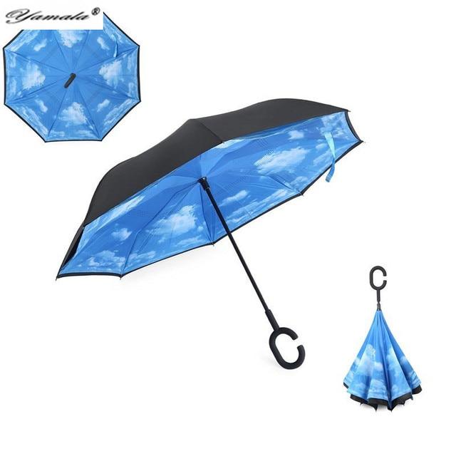 Yamala New Modern Upside Down Reverse Umbrella C-Handle Double Layer Inside-Out