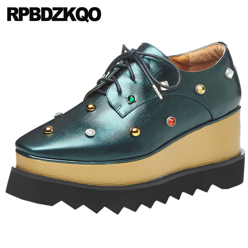 Wedge Women Muffin Metal Diamond Stud Rivet Creepers Crystal Rhinestone Peacock Italian Platform Designer Shoes China Square ToeWedge Women Muffin Metal Diamond Stud Rivet Creepers Crystal Rhinestone Peacock Italian Platform Designer Shoes China Square Toe