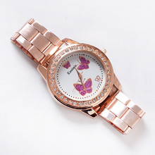 Montres Femme Fashion Women Watch Crystal Butterfly stainless steel clock high quality Quartz Wedding dress watches reloj mujer