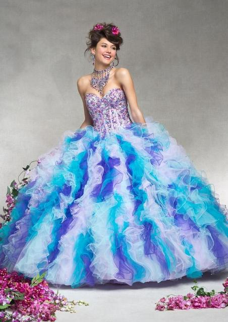 518b40fb52 Colorful Quinceanera Dresses 2016 with Jacket Sweetheart Crystals Beaded  Sequin Cascading Ruffles Ball Gown Prom Dress Q88061