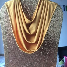 gold ruffled sequin swag chair covers with valance for weddings 50pcs/lot Free Shipping