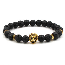 New Fashion Natural Stone Charm bracelet High quality Lion Head Dumbbells Lava Volcanic Bracelets Women Men Jewelry