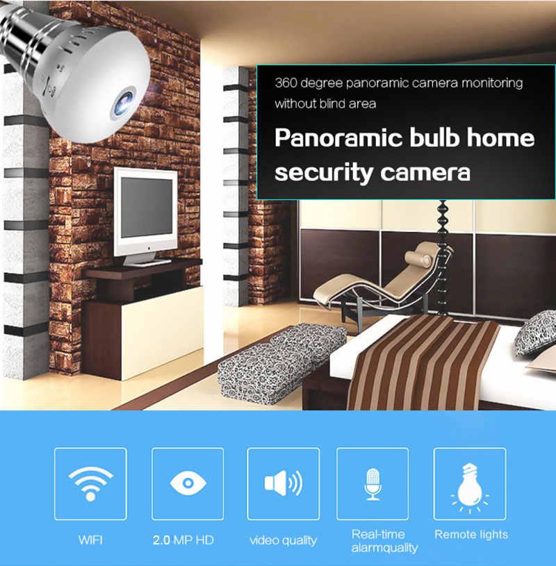YuBeter 1080P 2MP 360 Panoramic Fisheye Camera Bulb Lamp WiFi IP Camera Surveillance Two Way Audio Infrared Night Vision 1 piece