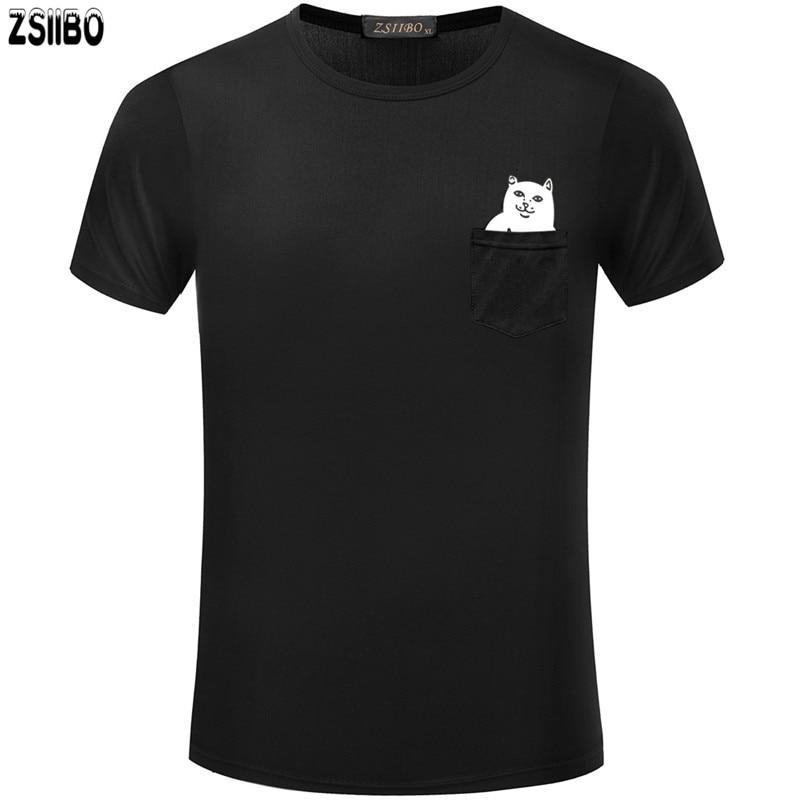 ZSIIBO Marque Nouvelle de Chats dans la Poche hommes T-Shirt Dessin Animé de Mode impression t shirt Casual Hip Hop t-shirts TX140 P