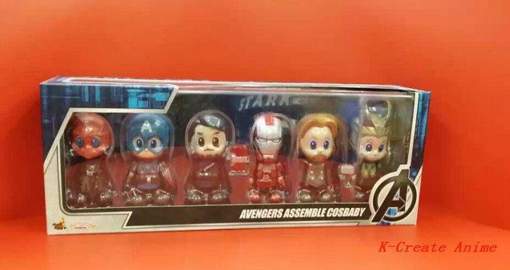 ФОТО Free shipping 6pcs Anime Q version Avengers assemble Cosbaby pvc figure toy tall 6cm set.6pcs/set Avengers figure collection.