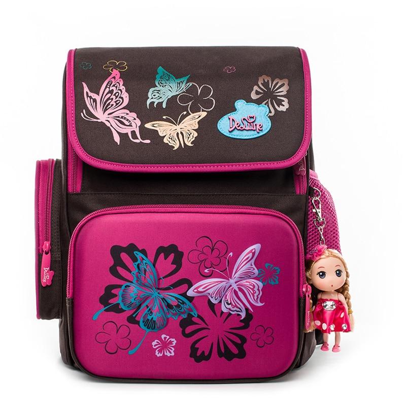 Delune Cartoon Design School Bags For Girls Orthopedic Backpack Children mochila infantil Durable Children Backpack Grade 1-5
