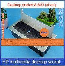Кисть раскладушка многофункциональные настольные гнездо/VGA/USB/HDMI/Микрофон настольный гнездо/Скрытые столе гнездо щеткой Silver-603