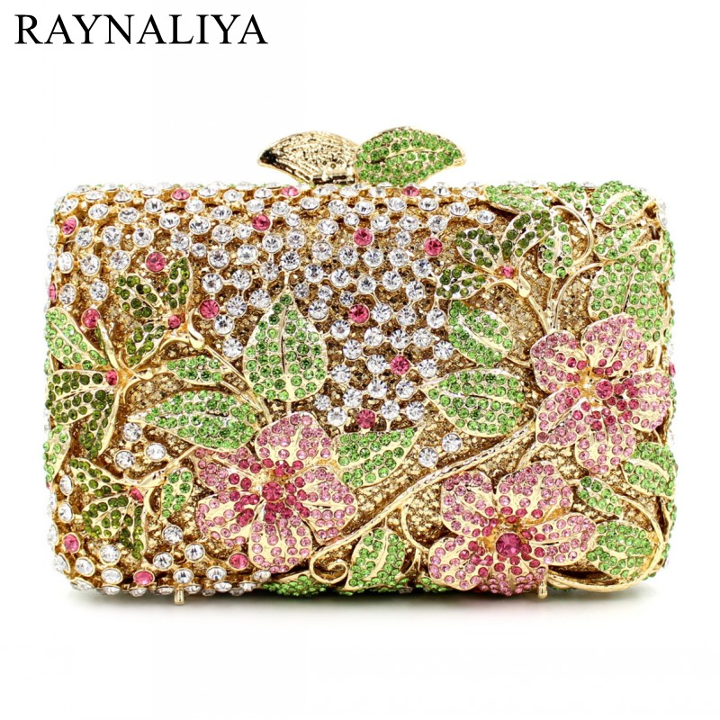 Hollow Out Floral Rhinestones Evening Party Small Clutch Handbag Bridal Purse Wedding Gold Topaz Crystal Women Bags SMYZH-E0358