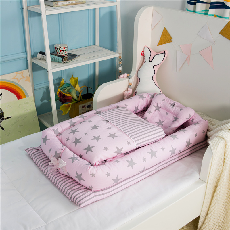 Baby Nest Bed Crib With Quilt Portable Removable Washable Crib Travel Bed For Children Infant Cotton