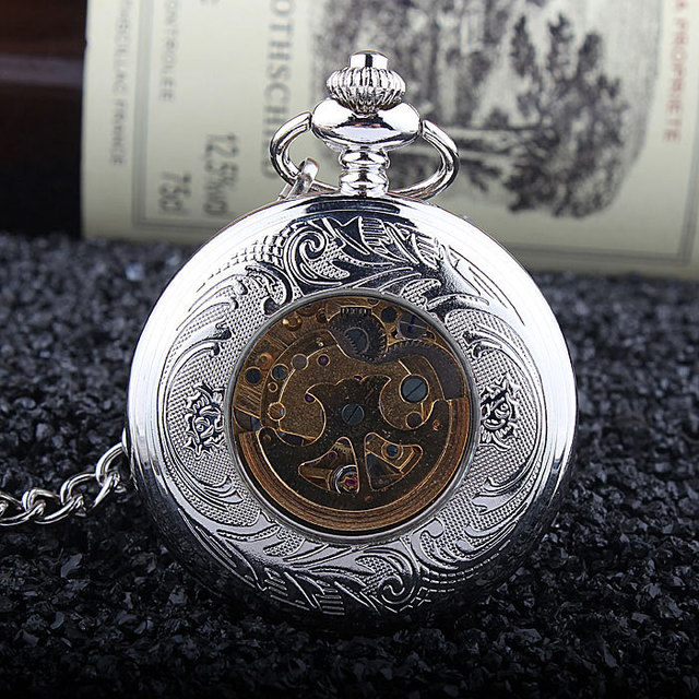 Fashion Phoenix Wing Hollow Silver Case Black Dial Skeleton Automatic Mechanical Men Women Pocket Watch FOB Chain Gift P380