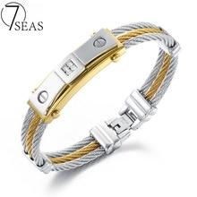 7 MERS Cubique Zircone Bracelets Bracelets Pour Hommes De Mode Trois Couches Corde Chaîne Or & Argent Plaqué Homme de Bijoux Bracelet 7S756