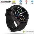 Askmeer KW88 Android 5.1 3G WI-FI Telefone Do Relógio Inteligente Bluetooth Smartwatch relógio de Pulso MTK6580 GPS 2.0MP Camera Pedômetro Freqüência Cardíaca