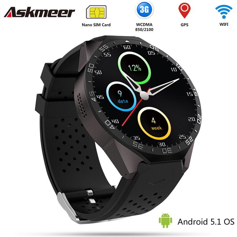 Askmeer kw88 android 5.1 3g wifi smart watch reloj gps 2.0mp cámara bluetooth de
