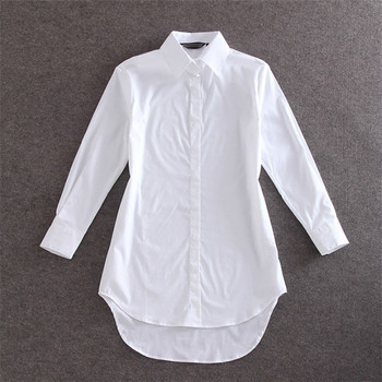 My NewIn 4XL 5XL Plus Size Women Blouse Shirt Long Sleeve White Solid Loose Long Version Casual Top 2