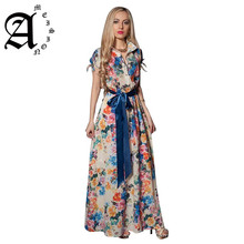 Ameision spring summer dress Bohemian style women short sleeve floral printed Bow turn down collar casual  long dresses vestidos