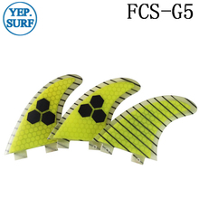Quilhas Surf FCS Fibreglass Fins G5 Yellow carbon line Honeycomb Fin Free Shipping surfing