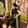 2016 Women Chinese Traditional Embroidery Cheongsam Lace Patchwork Short Sleeve Flower Qipao Dress Sexy Party Chinese Elements