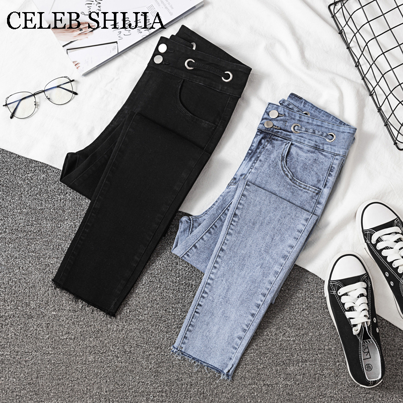 Skinny   Jeans   For Woman New Arrive High Waist Blue BLACK COLOR ANKLE-LENGTH Pants Female Denim Elastic Korea Woman's Trouser