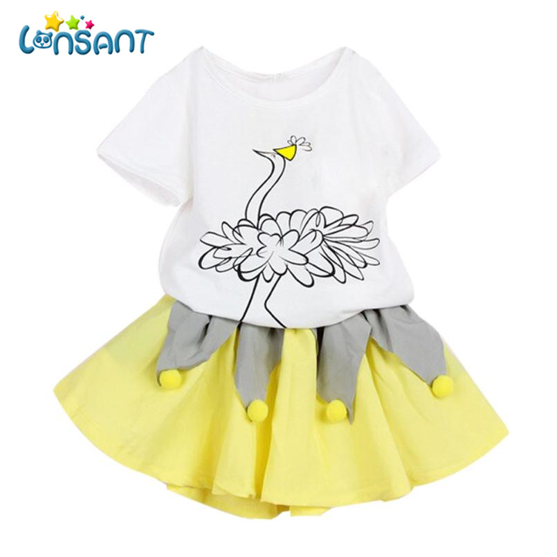 LONSANT Girls Dresses Summer 2018 Children Girls Clothes Fashion Mini Vestidos Pattern T Shirt Tops+Skirt Dress Dropshipping