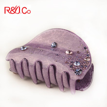Nuevo Estilo Incrustaciones Checa Rhinestone Pinzas Para el Cabello de Acrílico Medio Púrpura Joyería Del Pelo de la Garra Del Pelo de La Venta Caliente de Calidad Superior