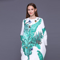 HIGH QUALITY Newest 2017 Fall Winter Runway Designer Trench Women's Banana Leaves Print Jacquard Crystal Beading Trench Coat