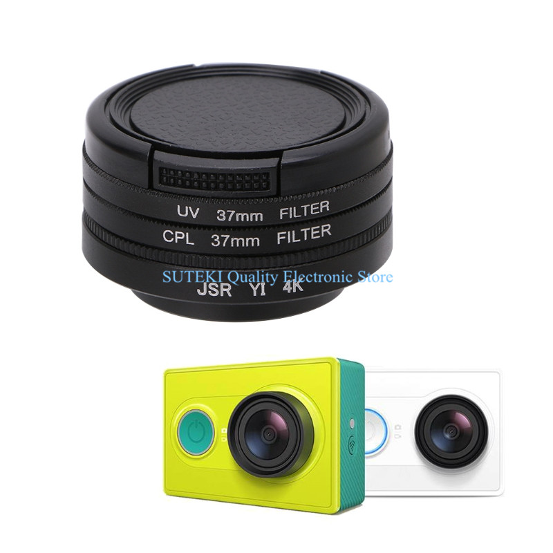 Free Shipping 37mm UV CPL Filter Cover Lens Protective Cap For Xiaomi Yi Sport Action Camera original protective leather cover uv lens cover white