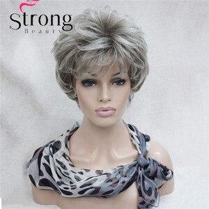 Image 3 - StrongBeauty Kısa Katmanlı Gümüş gri Ombre Tam Sentetik Peruk kadın Peruk RENK SEÇENEKLERI