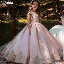 Новые Платья с цветочным узором для девочек, высококачественные Бальные платья с кружевной аппликацией и бисером, пышные платья длиной до пола для первого причастия