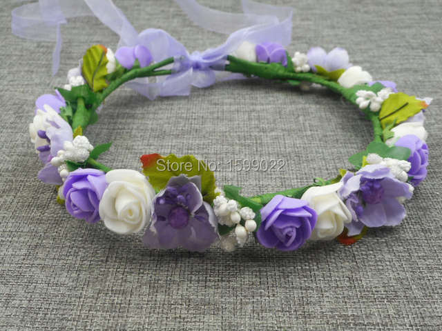 90f665359ec Online Shop 5pcs lot New Handmade Flower Girl Head Wreath Blue White Cherry  Blossom Children Diy Hair Accessories Winter Wedding Headwear