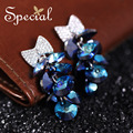 Special New Fashion Crystal Stud Earrings Ear-piercing Stars Earrings Silver Plated Jewelry 2017 Gifts for Women S1611E