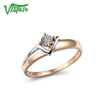 VISTOSO Reine 14K 585 Zwei-Ton Gold Funkelnden Illusion-Set Wunder Platte Diamant Ring Für Frauen Jahrestag trendy Edlen Schmuck