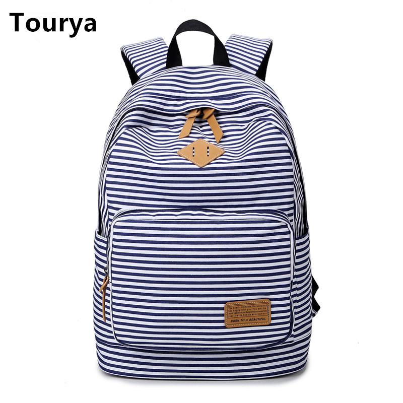 Tourya Casual Canvas Women Backpack Shoulder School Bags Schoolbag for Teenagers Girls Laptop Travel Bagpack Mochila Feminina 2017 new women printing backpack canvas school bags for teenagers shoulder bag travel bagpack rucksack bolsas mochilas femininas