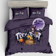 Funda de almohada de decoración de dormitorio de vacaciones de Halloween Set individual/doble/completo/Queen/King Size Cute Kids ropa de cama (sin relleno)(China)